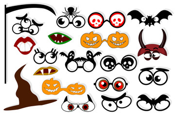Design elements for party props. Photo booth props template for zombie party.