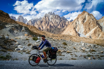 Cyclist on Karakorum Highway