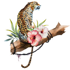 Watercolor raster leopard