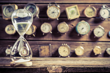 Old hourglass as the old way of timing