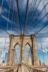 NEW YORK - AUGUST 22: Views of the Brooklyn Bridge on a summer d