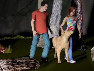 digitally rendered illustration of a young couple walking their dog in the woods at night