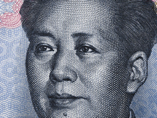 Mao Zedong portrait on chinese ten yuan banknote macro, China  money closeup