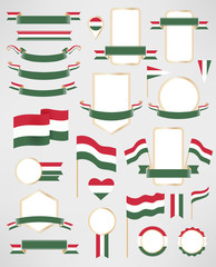 Hungary flag decoration elements. Banners, labels, ribbons, icons, badges and other vector design element with flag of Hungary