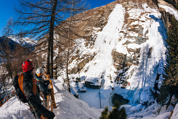 Lillaz icefall: ice climbing paradise. Concepts: extreme sport, vacation, adventure travel. European Alps, Cogne (Val d'Aosta)