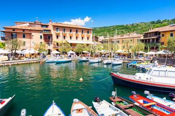 colorful harbour in Torri del Benaco at Lake Garda, Italy