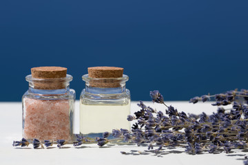 Aroma oils in bottles and salt with lavender