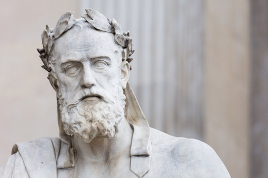 Portrait of the statue of greek philosopher Xenophon