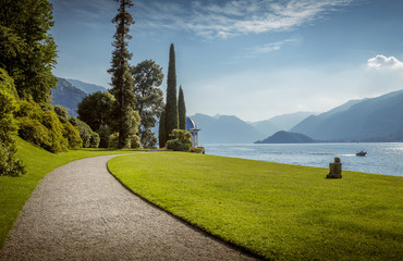 Park lane at Como Lake, Italy
