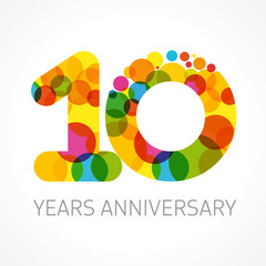 10 years anniversary circle color logo. Template logo 10th anniversary with a circle in the form of a color bubble