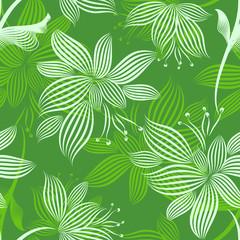 Green Ornamental Flowers Seamless Pattern