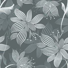 Grey Ornamental Flowers Seamless Pattern