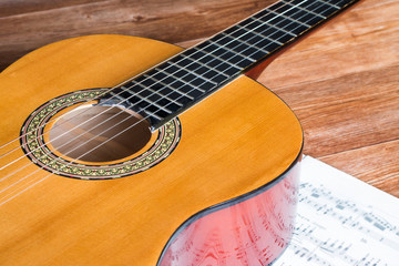 Acoustic guitar and wooden background