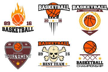 Basketball logos. set sport emblems. vector