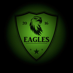 Eagles! Sports logo. the emblem appearing out of the darkness. Perfect on your black shirt! vector
