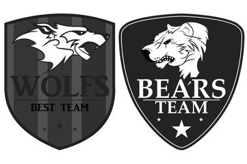 Wolf and Bears  sports logo. vector emblem