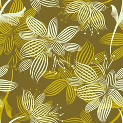 Yellow Ornamental Flowers Seamless Pattern