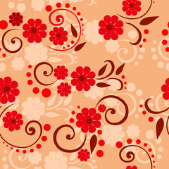 Vector seamless pattern with colorful summer flowers on a golden