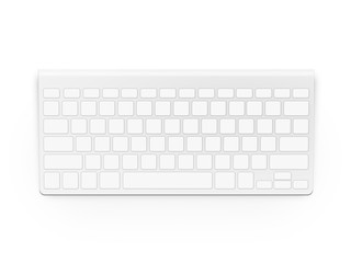 Blank white keyboard design mock up isolated. Empty buttons keypad.