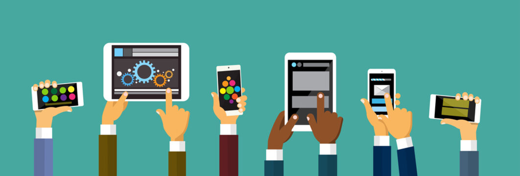 Group Hands Holding Smart Cell Phone Tablet Computer, Technology Concept Flat Vector Illustration