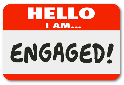Hello I Am Engaged Name Tag Sticker Engagement Involved Interest