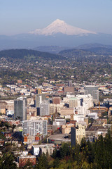 Portland Sky Showing Downtown And Mt Hood Oregon State