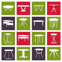 Set of furniture silhouettes.Table collection