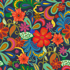 Seamless Paisley background.Colorful flowers and leafs on blue background