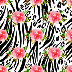 Abstract animal seamless pattern with flowers drawing watercolor