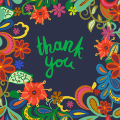 """Thank you""- vector phrase isolated on floral background."