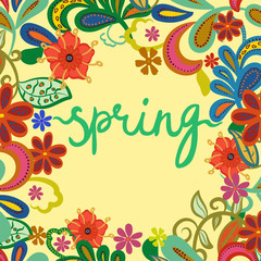 """Greeting card, invitation, banner, print. Frame with text """"spring"""" on floral background"""