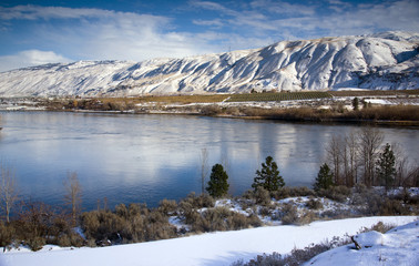 Columbia River Flows After Fresh Snow