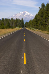 California Highway Leads to Mount Shasta