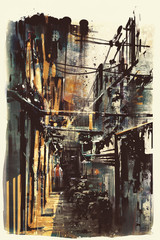narrow alleyway in old town,abstract grunge of cityscape