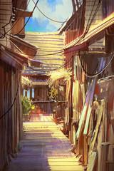 wooden village pathway,illustration painting