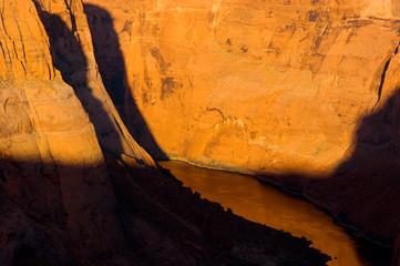 The Sun Entering Horseshoe Canyon and the Colorado River