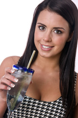 Woman feels Refreshment Enjoying Ice Water