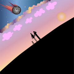 Hope for the best. Asteroid approaching Earth while the family with children going to the horizon
