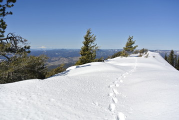 snowy ridgeline steps