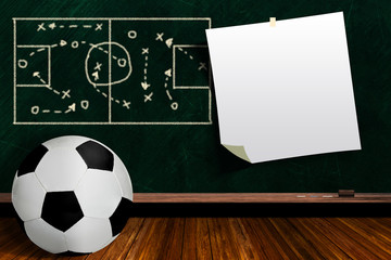 Game Concept With Soccer Ball and Chalk Board Play Strategy