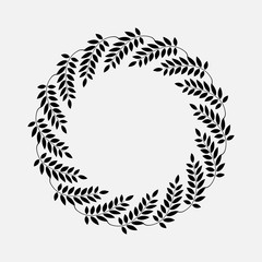 Laurel wreath cicle tattoo. Black stylized ornaments, signs on white background. Victory, peace, glory symbol. Vector