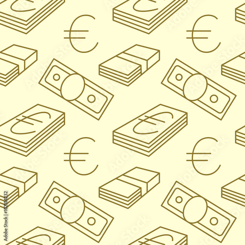 Currency Seamless Pattern Dollar Euro Sign Background Texture