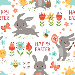 Cute Easter seamless pattern on white background.