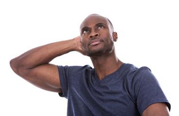 handsome black man thinking