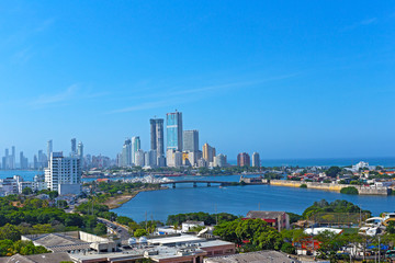 A modern development and Caribbean Sea in Cartagena, Colombia. City skyline of modern Cartagena, Colombia.