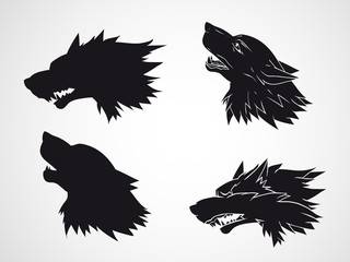 Vector set of wolf heads.