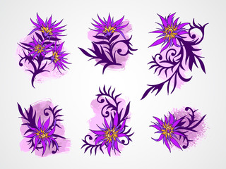 Vector set of hand drawn flowers, branches and leaves with textured watercolor elements.