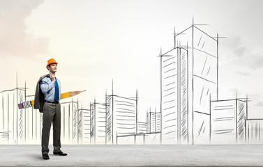 Architect designer with huge pencil