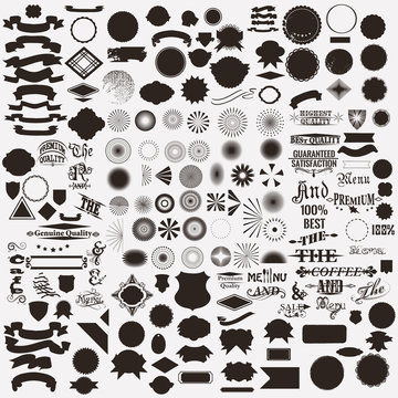 Collection or set of vector shapes sunbursts for labels and badg