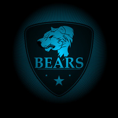 Bears! Sports logo. the emblem appearing out of the darkness. Perfect on your black shirt! vector